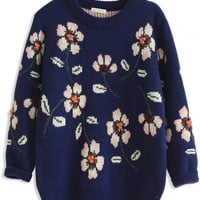 Casual Floral Long-Sleeve Knit Sweater - OASAP.com