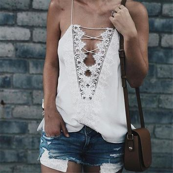 2017 Sexy hollow out Deep V-Neck Crop Tops Slim Strap Black Lace Up Camis Sleeveless Top Summer Women Cross Vest White Tank Top