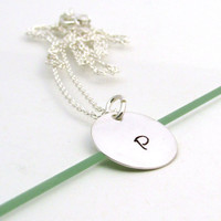 Sterling silver initial disc necklace, silver personalized pendant, gold or silver disc necklace, hand stamped pendant, initial necklace