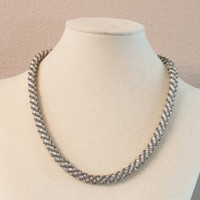 Russian Spiral Beaded Necklace in Pearl Gray and by andreagoo