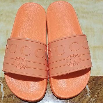 GUCCI 2018 summer new non-slip comfort trend fashion men's shoes F-ALS-XZ Orange