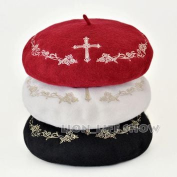 3 colors black white red with gold Winter Women Gothic Lolita Wool rose Cross Embroider Floral Beret Hat