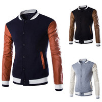 Leather Sleeve Men's Slim Varsity Jacket