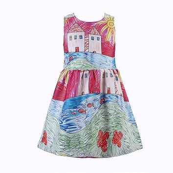 Girls Dress Vestidos Brand Princess Dress Toddler Costume for Kids Clothes Painting Baby Girls Party Dresses Children Clothing