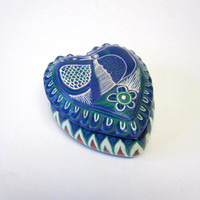 Heart Shaped Blue White Trinket Jewelry Box