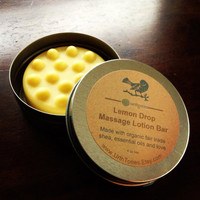 Lemon Drop Massage Lotion Bar with Organic Fair Trade Shea Butter /// Essential Oils of Jasmine, Grapefruit and Lemongrass