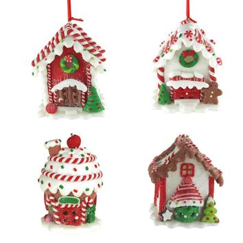 Hanging LED Gingerbread House Christmas Tree Ornament with Glitter, 3-Inch, 4-Piece