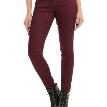Licensed cool Blackheart Burgundy Red Skull Print Super Skinny Jeans JRS Sizes 1-15 Hot Topic