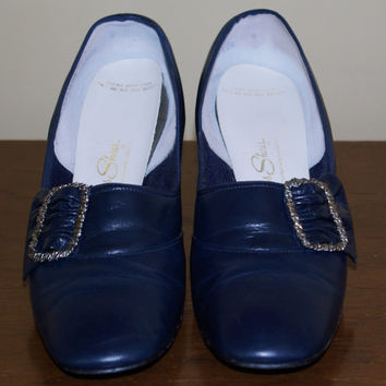 "70's ""Red Cross"" Shoes Navy Vintage"