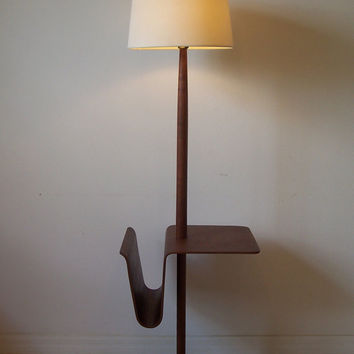 Vintage Teak Danish Modern Modernist Floor Lamp with Table and Magazine Rack