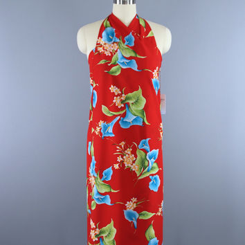 Vintage 1980s Hawaiian Hilo Hattie Red Floral Print Sarong Wrap Dress