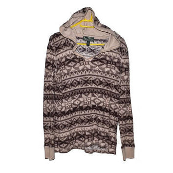 Ralph Lauren Hooded Sweater Brown Beige Leightweight Pullover Nordic Print Womens Extra Large L XL