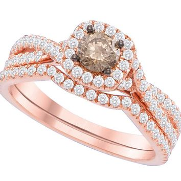 14kt Rose Gold Womens Round Cognac-brown Colored Diamond Bridal Wedding Engagement Ring Band Set 1Cttw