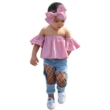 Summer Toddler Kids Clothes Casual Baby Girls Clothing Set Off Shoulder Ruffle T-Shirt Tops+Hollow Denim Pants+Headbands Outfits