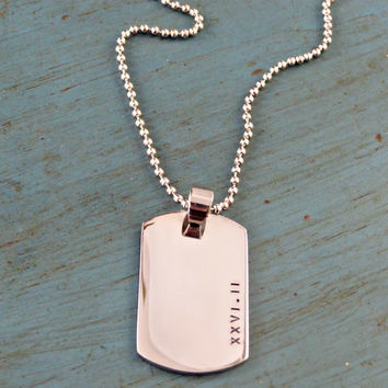 Marathon Jewelry Roman Numeral Mens Dog Tag Necklace Running Gear Half Marathon Necklace Groomsmen Gift Grooms Gift Dad Fathers Gift