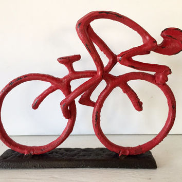 Bicycle display for table top, cast iron, red distressed