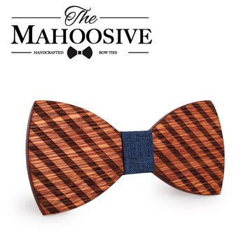 Mahoosive Etching Wood Bow Ties for Mens Wedding Suits Wooden Bow Tie Butterfly Shape Bowknots Gravatas Slim Cravat