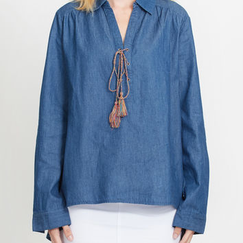 LE3NO Womens Long Sleeve Denim Lace Up Tunic Top (CLEARANCE)