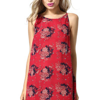 Red Strappy Floral Printed Dress
