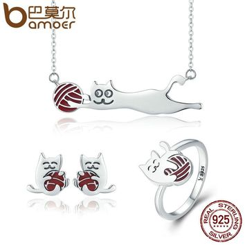 Silver Set Cat Necklace Earrings Ring Jewelry Sets
