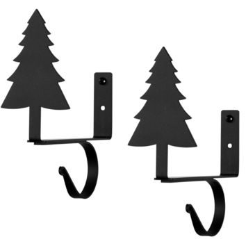Wrought Iron Pine Tree Curtain Rod & Shelf Brackets -Set