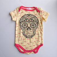 Pink Yellow Baby Girl Clothes. Cute Skull bodysuit 3 6 9 months. Trendy tiny flowers with rockabilly tattoo skull.