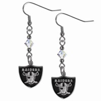 NFL Oakland Raiders Crystal Dangle Earrings