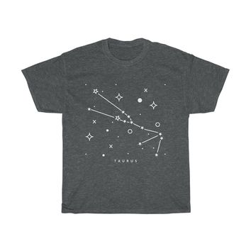 Constellation Astro Sign Taurus Unisex Heavy Cotton Tee