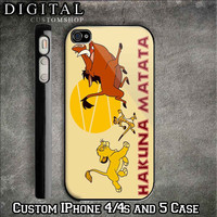 Hakuna Matata Lion King custom Black iPhone Case 4 / 4S and also iphone 5 Apple Phone Hard Cover Plastic