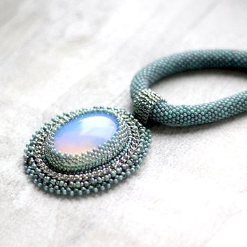 Elvish Necklace, Opal Necklace, Turquoise Beadwork Necklace, Mint Statement Necklace, Turquoise Choker, Mint Bead Embroidered Necklace