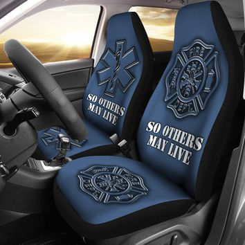 Fire Rescue Custom Printed Car Seat Covers (set of 2)