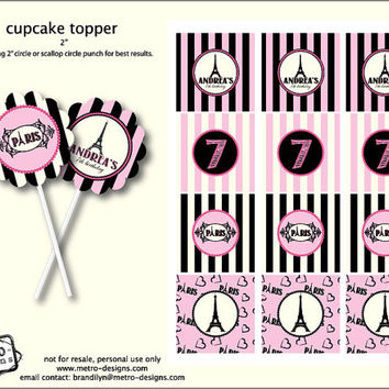 Paris Birthday - Favor Tags or Cupcake Toppers