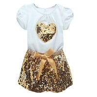 2-7T Kids Girls Clothing Sets Sequins Short Sleeve T-shirt Tops Shorts Outfits Clothes Set NW
