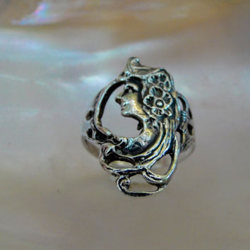 Art Nouveau Ring Sterling Female Mucha Inspired Portrait Fairy Goddess Gift Size 5.5