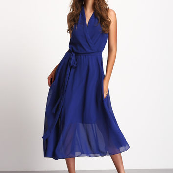 Blue Deep V Neck Sleeveless Tie Waist Dress | MakeMeChic.COM