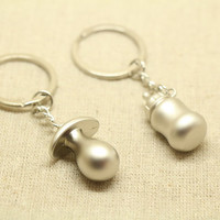 2pcs Free Engraving, milk bottle Keychain, couples keychain