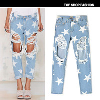 Hot Popular Star Printed Ripped boyfriend Hole Women Loose Jeans Stars Trousers Pants _ 1137