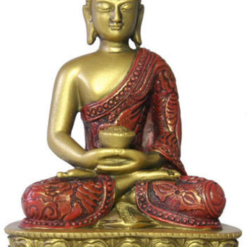 Nepali Buddha in Meditation Pose Statue, Gold and Red 5H