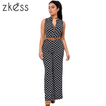 Zkess Jumpsuit Long Pants Women Rompers Sleeveless 2XL V-neck  Belt Solid Sexy Night Club Elegant Slim Jumpsuits Overalls