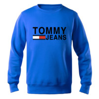 Tommy Autumn And Winter New Fashion Bust Letter Stripe Print Long Sleeve Top Sweater Sapphire Blue