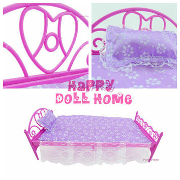 Free Shipping Mini Doll Bed Furniture 3 items(doll bed+pillow+bedsheet) For Barbie Doll House Baby Toys Hot Selling