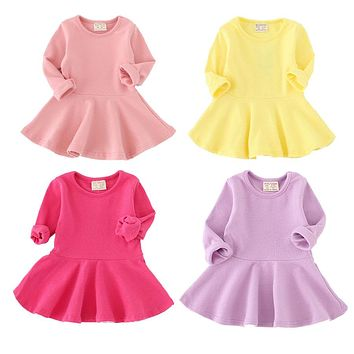 2018 Limited Special Offer Knee-length Girls Dress Spring Autumn Cotton Kids For Long Sleeve Clothes For Princess Girl Party