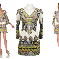 ITALIAN BAROQUE PAISLEY PRINTED VIVID BOHO SEXY DRESS 3/4 BELL SLEEVE WHITE MARK
