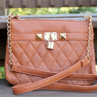 Tan Quilted Crossbody
