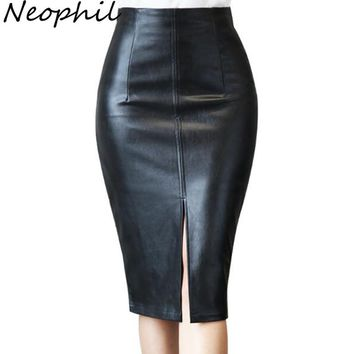 Neophil 2017 Winter Retro Ladies Black PU Faux Leather Sexy Midi Pencil Skirts Plus Size 5XL Bodycon Office Work Wear Saia S1002