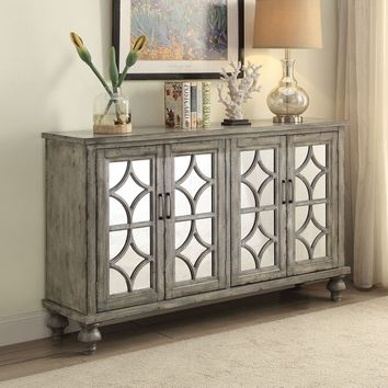 Acme 90280 Velika weathered gray finish wood mirror fronts hall console table