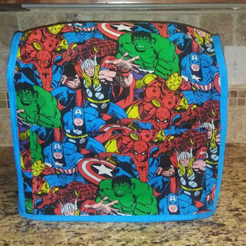 Handmade Fabric Kitchenaid Mixer Cover in Nerdy Avengers Print featuring Thor, The Hulk, Iron Man, Captain America and Spiderman