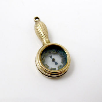 Victorian Compass Watch Fob. Unique Hand Mirror Shaped Compass Fob Necklace Pendant Charm With Handle. Rolled Gold.