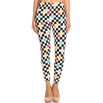 Women's Regular Colorful Checkered Pattern Printed Leggings