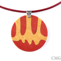 Wood Inlay Pendant - Marquetry - Jewelry Design - OOAK Handmade Woodwork - Red & Yellow
